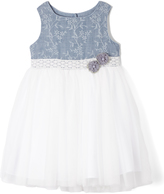 Laura Ashley Blue & White Tulle A-Line Dress - Infant Toddler & Girls