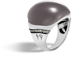 John Hardy Bamboo Ring in Silver with 22x21MM Gemstone and Diamonds
