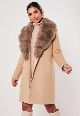 Missguided Sand Faux Fur Collar Coat