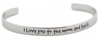 Rush Stainless Steel 'I Love You to The Moon and Back' Cuff Bracelet - Silver