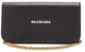 Balenciaga Chain-strap Grained-leather Wallet - Black