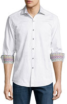 Robert Graham Kris Kringle Textured Cotton Sport Shirt, White