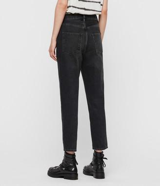 AllSaints Brooke Hi High-Rise Straight Jeans, Washed Black