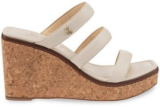 Jimmy Choo Athenia Leather Cork Wedge Mules