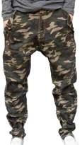 Liveinu Men's Button Details Drop Crotch Harem Pants Blue 4XL