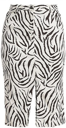 ATM Anthony Thomas Melillo Zebra-Print Denim Pencil Skirt