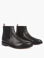 Thom Browne Black Grained Leather Chelsea Boots