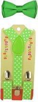 "ACCmall CUTE Baby Toddler Kids Children Boys ""Neon Green"" Polka Dot Elastic Suspender & Plain Bow Tie Set"