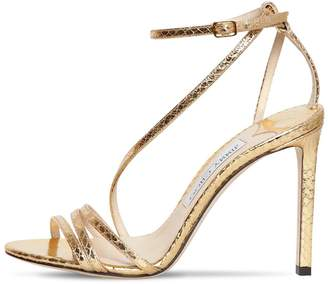 Jimmy Choo 100MM TESCA METALLIC LEATHER SANDALS