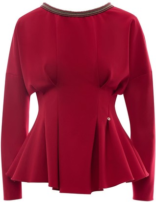 Nissa Red Bodycon Top With Neck Detail