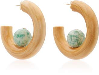 Sophie Monet The Sun Pine Wood and Dolomite Jade Hoop Earrings