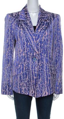 Christian Lacroix Purple Wool Silk Blend Burnout Blazer XL