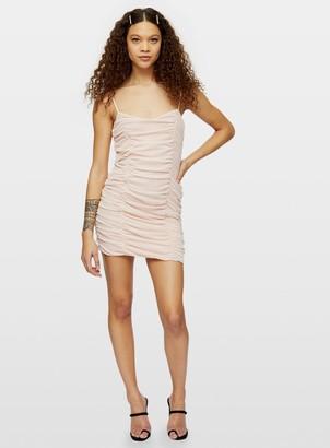 Miss Selfridge PETITE Beige Mesh Mini Slip Dress