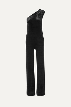 Norma Kamali One-shoulder Stretch-velvet Jumpsuit - Black