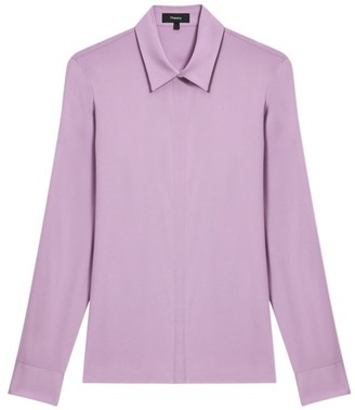 Theory Classic Fitted Silk-Blend Shirt