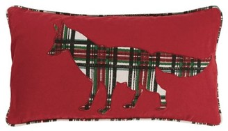 """Rizzy Home 11""""x21"""" red plaid fox polyester filled pillow"""