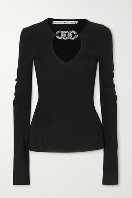 Alexander Wang Chain-embellished Ribbed-knit Sweater - Black