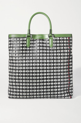 SERAPIAN Vertical Medium Woven Leather Tote - Black