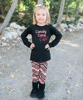 Beary Basics Black 'Candy Cane' Tunic & Red Plaid Leggings - Toddler & Girls