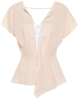 Roland Mouret Tayrona wool crApe blouse