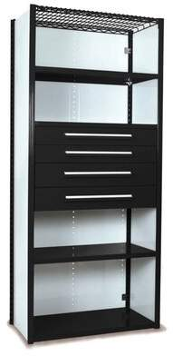 """Equipto V-Grip 84"""" Shelving with Drawers Unit - 4Drw/5Shelf Closed Starter, 4 drawers - (2) 4.5"""" & (2) 6"""" H; 400 lb capacity Equipto Finish: Textured Black,"""