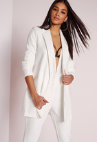 Missguided Longline Blazer White