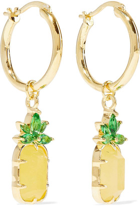 Noir 14-karat Gold-plated, Stone And Crystal Hoop Earrings