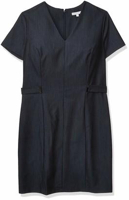 Sandra Darren Women's 1 Pc Short Sleeve V-Neck Denim Sheath Dress
