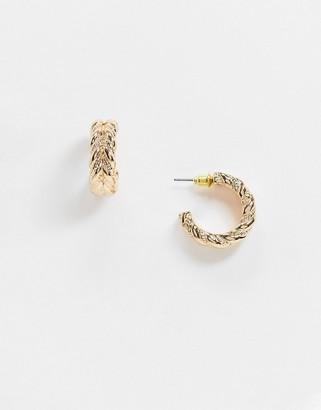 ASOS DESIGN hoop earrings in vintage style twist design in gold tone