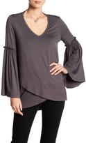 Karen Kane Bell Sleeve Crossover Hem Shirt