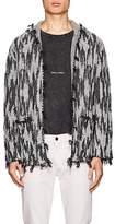 Saint Laurent Men's Ikat-Inspired Linen-Blend Hooded Cardigan