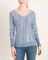 Chico's Chicos Spacedye Double V-Neck Pullover Sweater