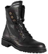 HUGO BOSS Boss black leather and faux fur lined combat boots