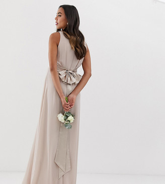 TFNC Maternity Maternity Bridesmaid exclusive bow back maxi in mink