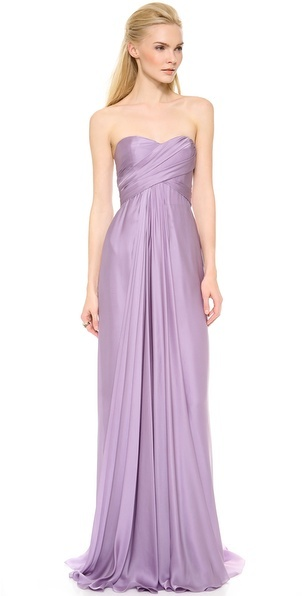Reem Acra Strapless Ruched Gown