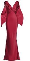 Zac Posen V-Neck Satin Back Crepe Gown