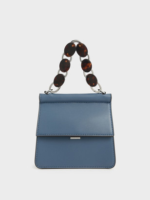 Charles & Keith Small Acrylic Tortoiseshell Top Handle Bag