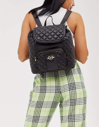Love Moschino quilted faux leather backpack-Black