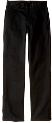 Nautica Slim Fit Flat Front Pants (Big Kids) (Black) Boy's Casual Pants