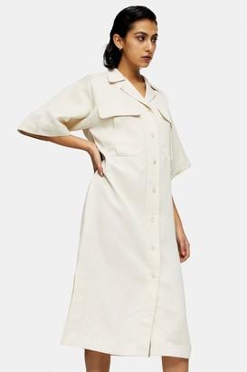 Topshop Stone Shirt Dress With Linen