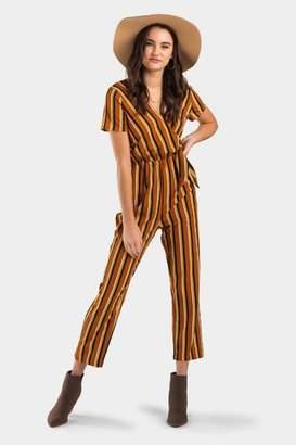 francesca's Satina Striped Jumpsuit - Camel