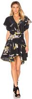 Halston V Neck Flounce Dress