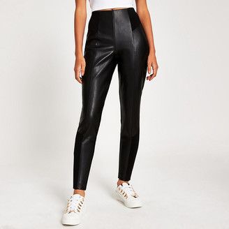 River Island Black faux leather and ponte leggings