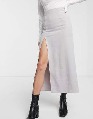 Weekday Amani straight midi skirt with side slit in light gray
