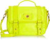 Neon croc-effect leather shoulder bag