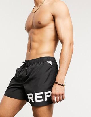 Replay logo swim shorts in black