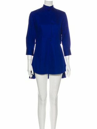 Alexander McQueen Mock Neck Mini Dress Blue