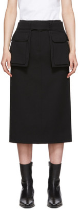 Juun.J Black Belted Pencil Skirt