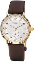 Frederique Constant Slim Line FC-235MPWD1S5 28mm Stainless Steel Case Brown Cloth Anti-Reflective Sapphire Women's Watch