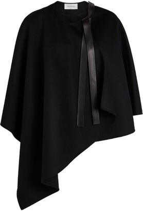 Valentino Leather-Trim Cape